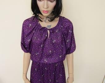 Dark Purple 70s Batwing Dress - Size 12-14