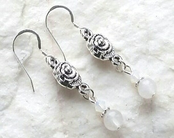 Moonstone And White Opal Crystal Sterling Silver Dangle Earrings