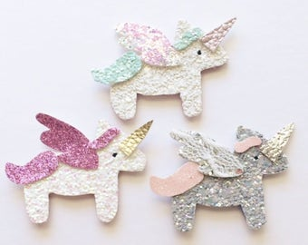 Glitter unicorn clip or headband