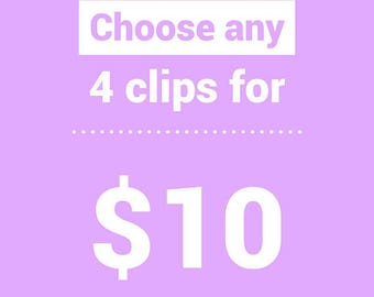 4 CLIPS for 10- CHOOSE your colors- glitter/leather snap clip and/or alligator clip pack