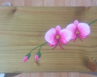 Hand made, hand painted, unique side table - Pink orchid