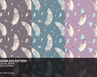 Bird Feather Seamless Surface Pattern, Soft Color Palette Digital Paper Pack, Background, Textile Fabric Print, Instant Download, Printable