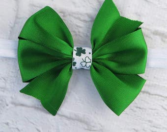 St. Patrick's Day pinwheel bow on an elastic headband Shamrock bow