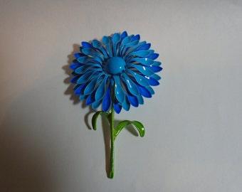 Vintage Enamel Two Tone Blue Flower Pin/Brooch