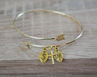 Bangle, ring, Bracelet arrow Arrow, gold plated 18 k bridemaids gift
