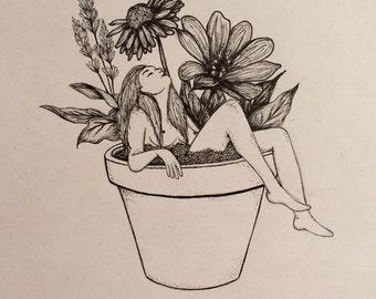 Pen and Ink Flower Pot