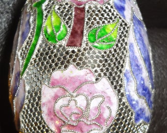 Wire Mesh Hanging Egg Ornament with Enamel Flowers