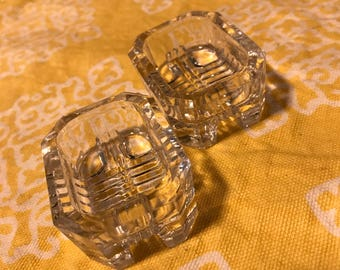 2 Antique Cut Glass Salt Cellars