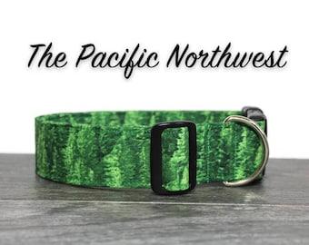PNW Dog Collar, Pacific Northwest Collar, Pine Tree Dog Collar, Boy Dog Collars, Girl Dog Collars, Green Dog Collar, The Pacific Northwest