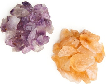 Digging Dolls: 1/2 lb Amethyst and 1/2 lb Citrine Rough Rocks from Brazil - 1 lb total weight of Raw Crystal Stones