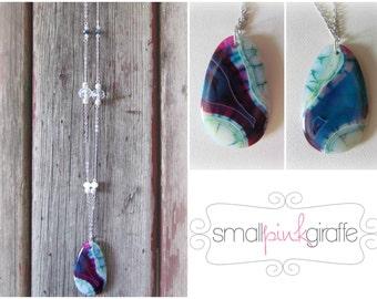 Large blue and purple stone pendant necklace