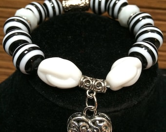 Bracelet black and white striped beads, Heart charm,  unique