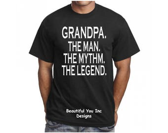 Father's Day Men's Shirt - Grandpa. The Man. The Myth. The Legend. Topography Design