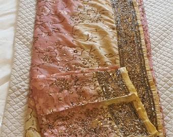 Designer Pink and Gold heavy saree