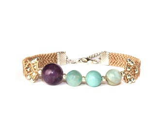 Bracelet with amethyst and amazonite