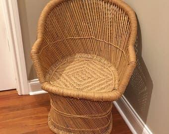 Vintage Bamboo Woven Jute Peacock chair