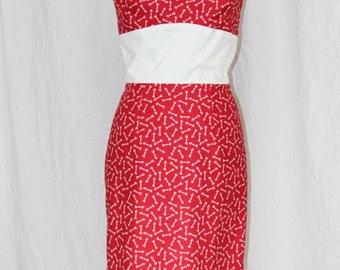 Cupid's Arrow white banded retro dress