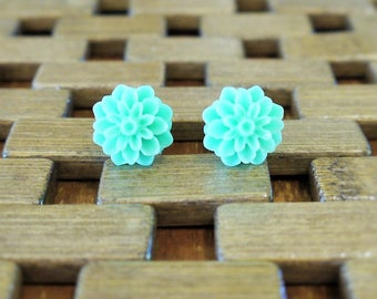 Mint Green Dahlia Flower Stud Earrings