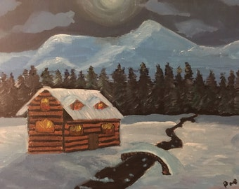 Original Painting Cabin In The Snow Acrylic Canvas