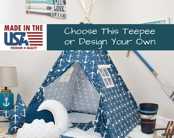 Navy Anchors Teepee, teepee for boys, kids tent, indoor tent, tent for kids, play tent, toddler tent, blue teepee, children tent