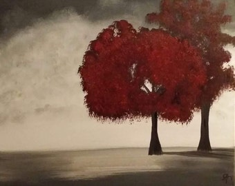 Red Trees Acrylic Painting