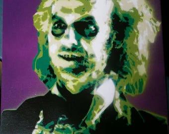 Beetlejuice spray paint stencil Art