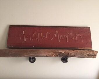 Columbus Skyline - bent copper on barn wood