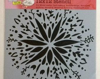 """THE CRAFTER'S WORKSHOP """"Folk Art Flower"""" 12x12 Stencil"""