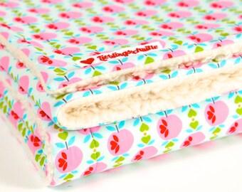 """""""Pink apples"""", blankie, baby blanket, cotton blanket"""