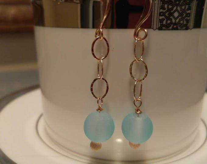Aqua blue sea glass earrings. Rosegold drop earrings Rose gold dangle earrings