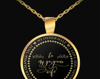 Hot Wife Jewelry - Lovely Gift - Round Pendant Gold -  Silver/Gold Chain Necklace - Personalized & Romantic