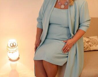 Vintage Plus Size , Vintage Two-piece Dress , Plus Size Suit , Plus Size Set , Pearl Trim Jacket Dress , Wedding plus size set ,
