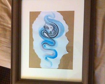 Framed original artwork watercolour fine lined illustration