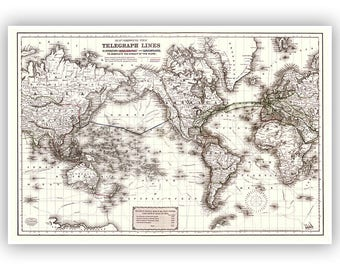 Telegraph Lines, Map Of The Word 1871, Vintage Style Fine Art Print, Global Communications, 1800s Map, Retro Home Decor