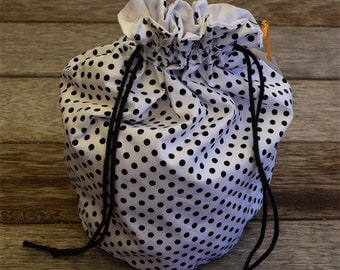 Polka dot / round / drawstring / knick knack or make up / jewellery storage