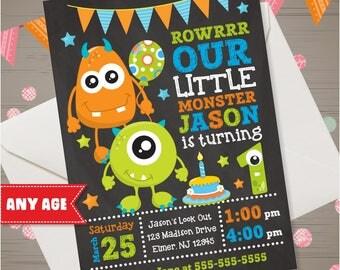 MONSTER Birthday Invitation Monster Invitation Monster 1st 2nd 3rd Birthday Invite Monster Party Invite Little Monster Chalkboard Invitation