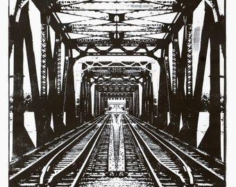 Railway Bridge - Original Woodcut Print - Black Ink on Japanese Hosho Paper