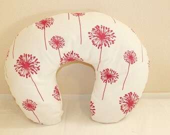 Boppy pillow cover, nursing pillow cover, breastfeeding pillows, pink dandelions.