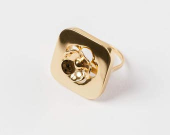 Gold Plated Cherry Blossom Ring - 3D Printed Jewelry - Statement Ring - From 2D To 3D - Customisable Size - Spring Jewelry