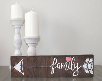 Brown stained family arrow sign