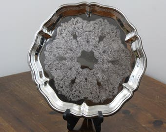 Vintage Eales 1779 Ornate Silverplate Round Footed Serving Tray