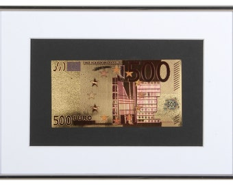Gilded 500 euro banknote  in frame