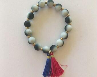 Pink/blue Tassel Dalmation Bracelets