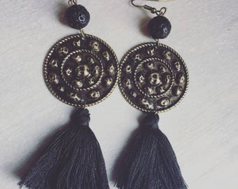 REF 0144 - Bohemian earrings ethnic black and bronze colors