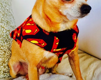 Quilted, Adjustable Flannel Dog Coat in Red, Black and Yellow Superman Logo Flannel in Extra-small, or Small size FREE SHIPPING