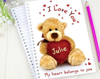 Personalised I Love You Teddy Bear A5 Notebook Notepad Notes Anniversary Valentines Day Gifts Ideas For Her Him