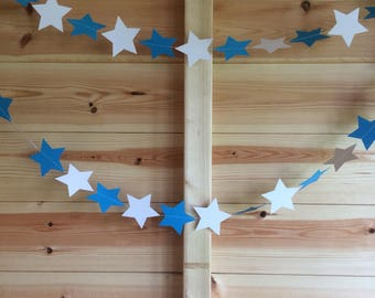 Blue and White Star garland, Decor, Party Decor, Baby Showers, Celebrations