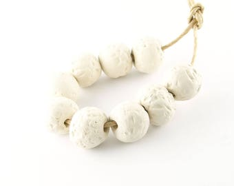 Blank clay beads rough white porcelain round beads 12 mm across set of 6 beads ErikMakesBeads