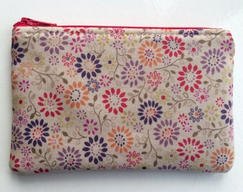Coin Purse, Small Pouch, Card Pouch, Small Zipper Pouch, Flowers