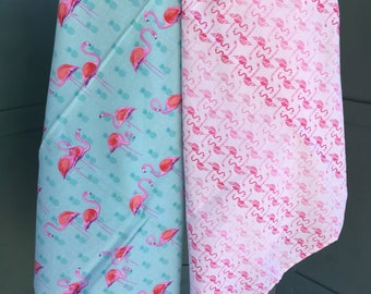 Flamingo baby blankets, flannel baby blankets, receiving blankets with flamingos